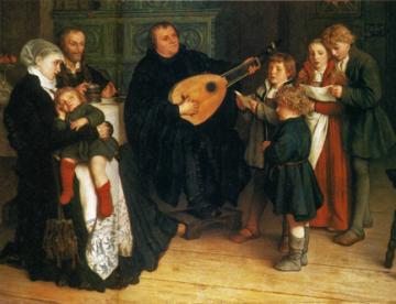 Luther musicerar i sin familjekrets (Gustav Spangenberg, 1875)